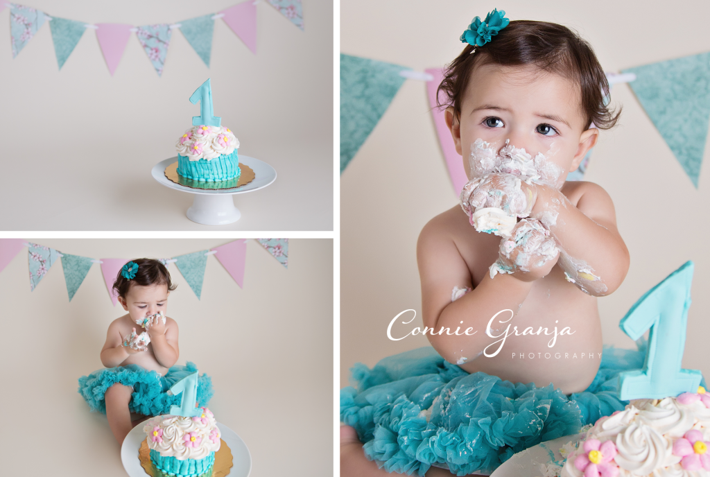 Blue And Pink Shabby Chic Baby Girl Cake Smash Boca Raton 1st