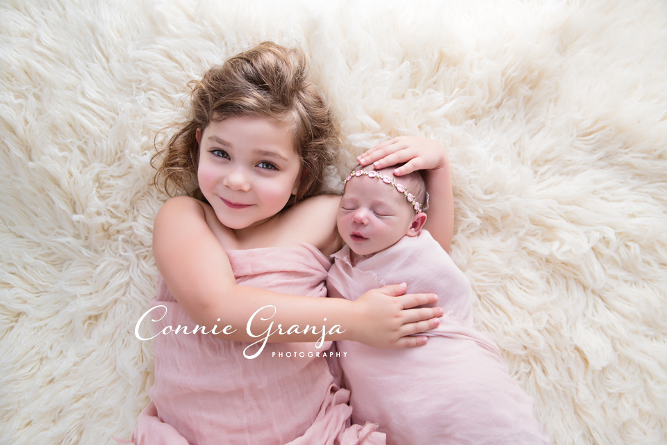 Sister Newborn Session - pink and cream baby girl newborn session - Boca Raton Newborn Photographer Connie Granja Photography