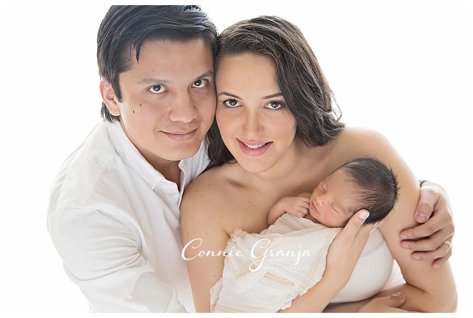 In-Studio Newborn Session - The Styled Newborn - Boca Raton, Florida Newborn Photographer Connie Granja Photography - Welcome Baby Diego - Mom and Dad with Newborn