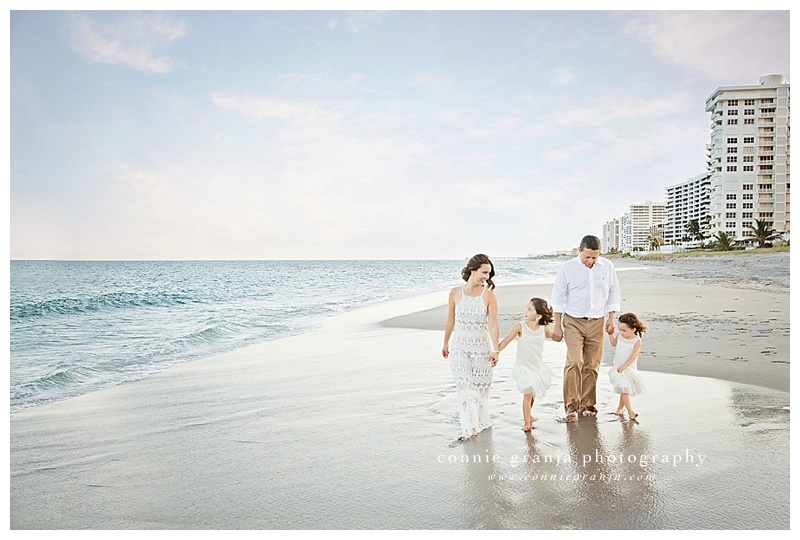Walking along the beach - Betancur Family Session at the beach - Boca Raton, Florida Family Photographer Connie Granja Photography - www.conniegranja.com